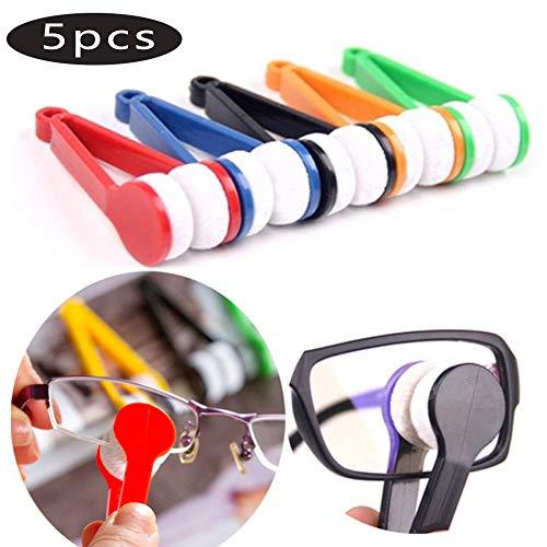 Tragbare Gläser Wischen, 5 Packs Multifunktionale Tragbare Gläser Pinsel Mini Sonnenbrille Mikrofaser Brille Reiniger (zufällige Farbe)