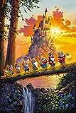 Blanche-neige et les sept nains : « Château sur l'horizon » de Rodel Gonzalez – Première du 30 – Toile décorée Giclee – Neuf 30x20 avec COA – publié par Disney Fine Art