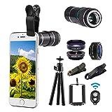 Smartphone Kamera Objektiv Set Zubehör Professional 12X Universal Makro Objektiv Zoom Lens Kit 198 Grad Objektiv Fischauge objektiv Kamera Adapter Teleskop Linse Aufsatz Focus für iPhone Samsung Etc.