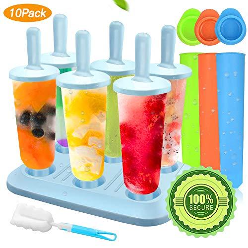 Specool Popsicle Stampi, 10 Pacchi Ice Cream Stampi Set Ilicone Riutilizzabili Set Homemade DIY Ice Pop Lolly Frozen Yogurt Bar Ideale Per La Preparazione di Ghiaccioli, Gelati, Sorbetti