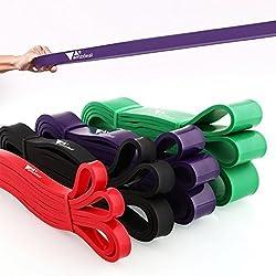 Amzdeal Bandas Elasticas Fitness - Cinta de Elasticas Resistencia Set para Fitness - Cuatro bandas (rojo,negro,verde,púrpura)