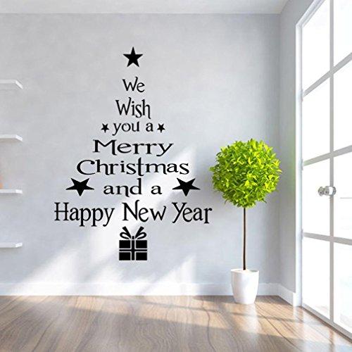 Ineternet Noël Lettres de l'arbre amovible en vinyle maison fenêtre Stickers PVC autocollant muraux Decor 43cm*24cm (43_x_24_cm, Noir)