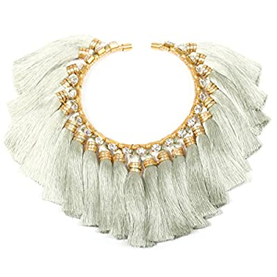 Vanina Women's 18ct Yellow Gold Plated Round White Swarovski Crystals Light Grey Tassels Alma Pirouette Choker