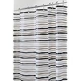 mDesign Cortinas de ducha originales – Medidas 180x180 cm – Las cortinas de ducha que le dan un toque diferente a su baño - Libres de PVC – Color: gris/negro/blanco