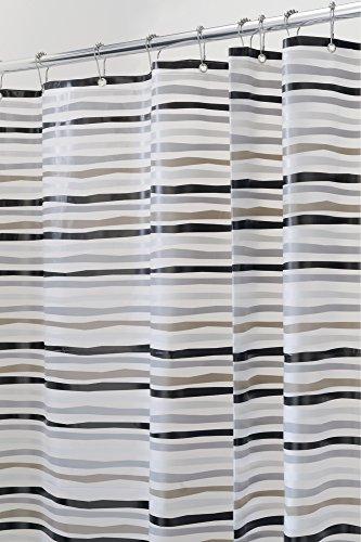 Tenda della doccia mDesign Stripes PVC-libero in PEVA, 180 x 180 cm - Grigio/Nero