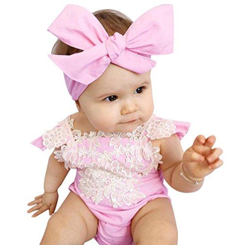 Bekleidung Longra Säugling neugeborenes Mädchen Lace Floral Strampler Overall Outfits Set Sunsuits(1PC Strampler + 1PCHair Band) (Kostüm Strampelanzug Panda)