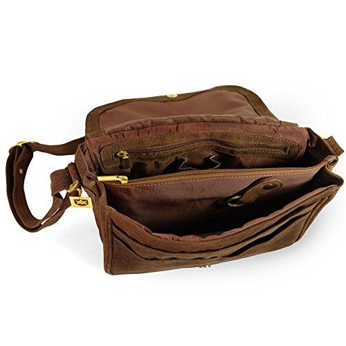 Damen Handtasche Größe M / Umhängetasche im Retro-Look aus Büffel-Leder, Braun, Hamosons 577 Braun