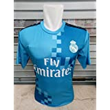 Real Madrid Jersey New 2017 - 2018 Away Jersey kit for Adults - Men & Boys - Latest Design T Shirt and Shorts Jersey Set with all Logos in place. Replica of Original Team Jersey of European / Spanish Football Club Real Madrid's away Blue Jersey. La Liga New Up coming 2017 - 2018 Season. Excellent Dri-Fit Imported Quality Climacool Sportswear. Team Real Madrid, Ronaldo, Benzama