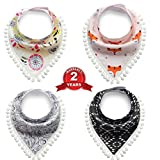 4-Pack Baby Bibs with Pacifier Clip,Baby Bandana Drool Bibs Unisex baby shower gift for Drooling and Teething, 100% Organic Cotton Soft and Absorbent Bib Set for Boys and Girls (3)
