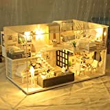 ToDIDAF Wooden Dollhouse 3D DIY Miniature House Furniture LED House Puzzle Educational Toy for Kid Birthday Valentine's Day for Bedroom Home Garden Decor - Mini Loft (with Dust Cover)