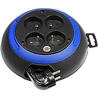 Brennenstuhl Design-Box, Enrouleur électrique 4 prises (avec empreintes ergonomiques sur le boîtier pour faciliter l'enroulement/câble 3m) coloris: noir/bleu
