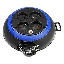 Brennenstuhl mini enrouleur electrique Design-Box CL-S 4 prises (3m câble H05VV-F 3G1,0, Utilisation Intérieur IP20, Noir&Bleu), Fabrication Française