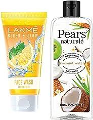 Lakmé Blush and Glow Lemon Fresh Facewash, 100g & Pears Naturale Nourishing Coconut Water Bodywash, 250 ml