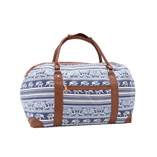 Reisetasche aus Segeltuch, Wochenendtasche, mittelgroß, Urlaub, ideal für Damen, Fitnessstudio, Handgepäck, 50 x 30 x 25, 35 Liter - QL216M Medium, Navy Elephants
