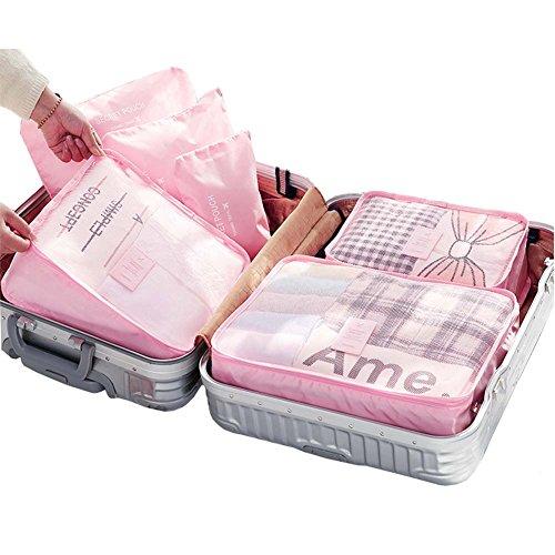 YOBOKO Kleidertaschen-Set 6-teiliges Gepäcktaschen-Set Gepäcktasche Koffer Organizer Innentasche Aufbewahrungstasche Wäsche Beautycase Schminktasche in verschiedenen Farben (Rosa)