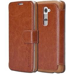 Mulbess Layered Dandy Coque pour LG G2, Housse en Cuir LG G2, Étui Téléphone LG G2, Protection pour LG G2 Protection, Marron
