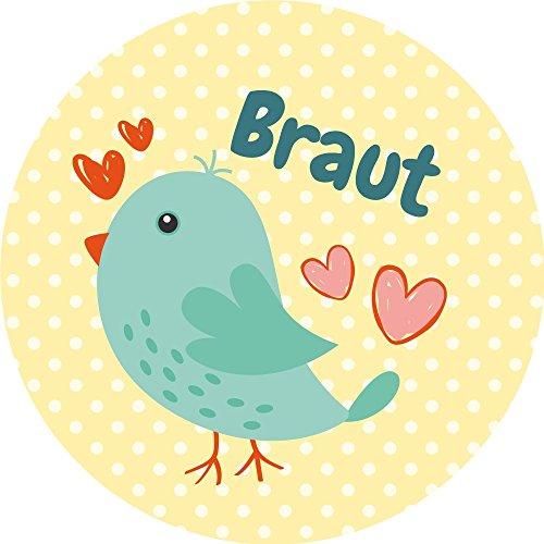 """Button-gelb T-shirt (JGA – Junggesellinnenabschied Buttons 12er Set – niedlich und süß: """"Vogelhochzeit"""" und """"Team Braut"""" in rosa und gelb)"""