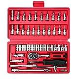 46pcs/scatola di acciaio auto Materiale Repair Tool Socket Set Ratchet Torque Wrench Combo Strumenti Regard