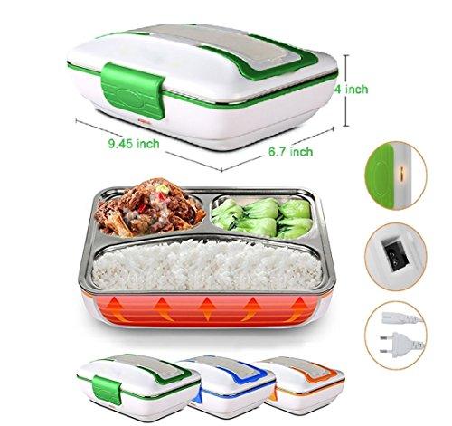 Rechaud Elektro 3Fächer Wanne Edelstahl ausziehbar mit Verschluss von sigurezza Dichtmasse Notebook Box Speisebehälter Lunch Box Kunststoff Material PP für Camping, Zuhause Büro (Sushi Wanne)