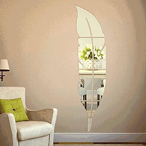 sunnymi Wandaufkleber Spiegel Feder Spiegel Für Haus Dekoration 120*30cm 3D Acryl Spiegel Abziehbild DIY (Feder, Silber)