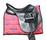 Snuggy Hoods Saddle Pad / Quilted Numnah 8 Colours One Size (Red Horse Shoes)