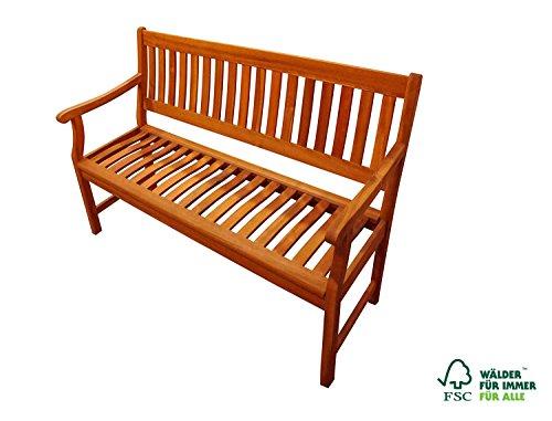 SAM Akazie-Sitzbank, massive Gartenbank für bis zu 2 Personen, Holzbank mit Armlehnen ideal für Garten Terrasse Balkon und Wintergarten, FSC 100% zertifiziert, 117 cm