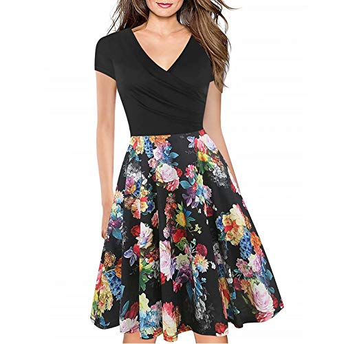 Women's Criss-Cross Necklines V-Neck Cap Sleeve Floral Casual Work Stretch Swing Summer Dress Party Dress Black Rose(S) Clean Stretch-cap