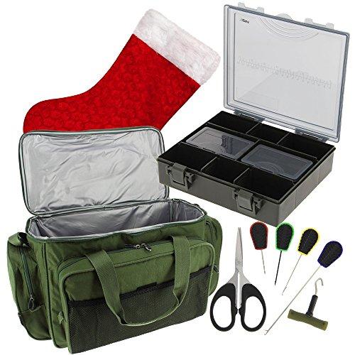 NGT Karpfen Angeln Weihnachten-Set + Isolierte Tragetasche, 4+ 1Tackle Box & 6Werkzeuge