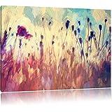 Mohn im Weizenfeld Kunst Pinsel Effekt, Format: 100x70 auf Leinwand, XXL riesige Bilder fertig gerahmt mit Keilrahmen, Kunstdruck auf Wandbild mit Rahmen, günstiger als Gemälde oder Ölbild, kein Poster oder Plakat