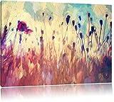 Mohn im Weizenfeld Kunst Pinsel Effekt, Format: 120x80 auf Leinwand, XXL riesige Bilder fertig...