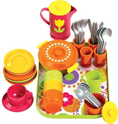 Gowi 454-17 Kaffeeservice Paris, 40teilig, Kinderküchengeschirr (Spielzeug Zubehör Küche)