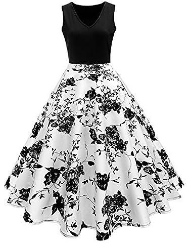 iShine elegant Rockabilly Kleid Damen Knielang V-Ausschnitt 50s Retro Vintage Faltenrock Ärmellos Partykleid Cocktailkleid Festliches Kleid mit Blumen