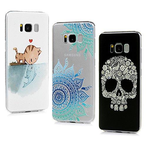 Schutzhülle für Samsung Galaxy S8 Schutzhülle Tasche Katzen und Fische lieben Muster PC Kunststoff Hülle Case Hardcase Hartschale Bumper Cover PC Plastik Harte Hülle Rückschale Hardcase