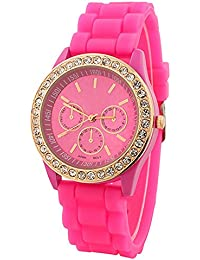 Fashion Silicone Golden Crystal Stone Quartz Ladies Jelly Wrist Watch Rose-Red