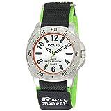 Ravel Surfer 5ATM, orologio al quarzo, da uomo, con display analogico argentato, cinturino in nylon colorato con velcro, R5-10.11G