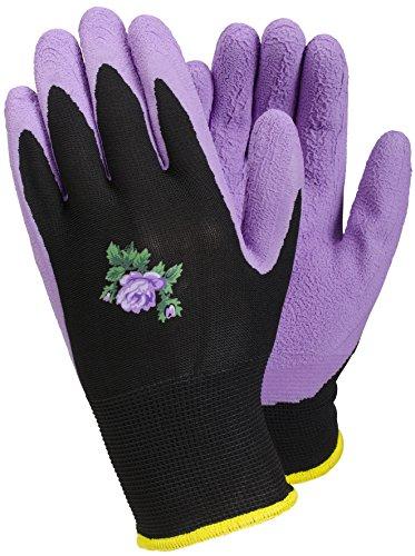 TEGERA [90068] Damen Lila Gartenarbeit Handschuhe Latex wasserabweisend Palm Größe 8(Medium)