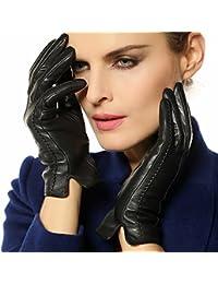 Véritable hiver en cuir gants chauds de Warmen femme de style classique simple