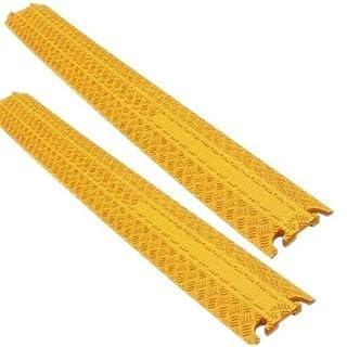 1 Kanal Kabelschutz Kabelbrücke 100 x 13 x 2 cm für Fußgänger / Radfahrer / Büro - in schwarz oder gelb - verschiedene Set-Größen (2 Stück, gelb)
