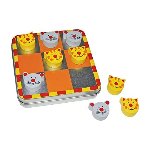 Small-Foot-by-Legler-Magnet-Tic-Tac-Toe-Katz-und-Maus-in-einer-Metallbox-mit-magnetischen-Spielsteinen-aus-Holz-schult-die-Logik-und-vertreibt-die-Langeweile-ideal-zum-Mitnehmen-ein-spaiges-Strategies