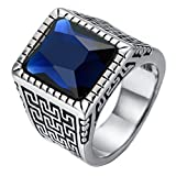 PAURO Herren Edelstahl Weinlese Großes Wand Muster Quadratischer Diamant Ring Blaue Stein Größe 65