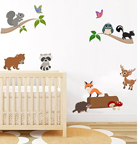 woodland-animal-nursery-wall-art-sticker-baby-bedroom-wall-decor-decals-peel-stick-owl-fox-and-jungl