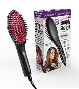 Genius Simply Straight Keramik Haar-Glätt-Bürste | 2 in 1 Glätteisen & Bürste | LCD-Aturanzeige bis 230 °C | Bekannt aus TV | NEU