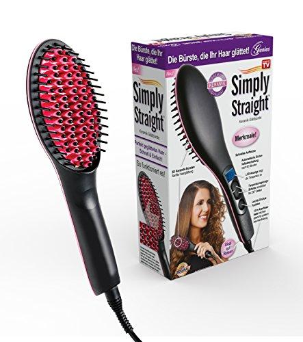 Glattes Haar Bürste (Genius Simply Straight Keramik Haar-Glätt-Bürste | 2 in 1 Glätteisen & Bürste | LCD-Aturanzeige bis 230 °C | Bekannt aus TV)