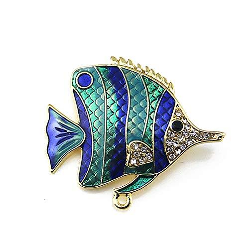 SNOWINSPRING Damen Kleidung Accessoires Grade Tropische Fische Emaille Brosche Strass Pins Schmuck Broschen (blau) -