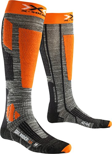X-Socks Herren Socken SKI RIDER 2.0, Grey Melange/Orange, 39/41, X100092