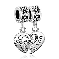 Uniqueen Mother Son Heart Love Charms Sale Cheap Dangle Bead Set For Pandora/Troll/Chamilia Charm Bracelet Gifts