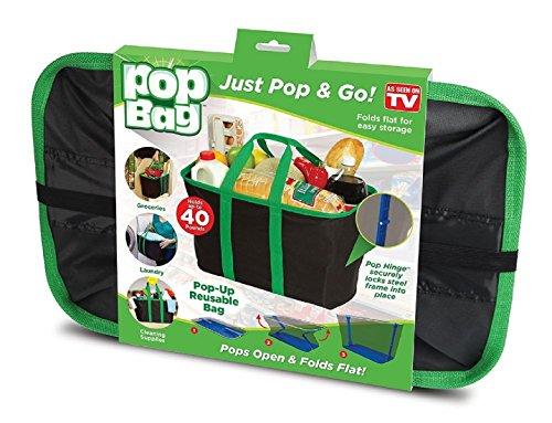 VelVeeta Shopping Pop Bag: Eco-Friendly, Collapsible, Reusable Shopping/Storage Bag - Holds Up To 40 Lbs - Black...