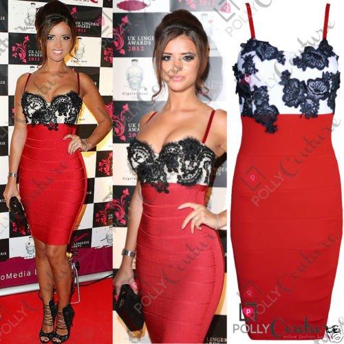 Damen Red Lace Bodycon Bandage Cocktail Party Abend Formale Damen Midi Kleid UK Size 8