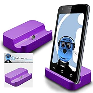 Purple Micro USB Sync & Charge / Charging Desktop Dock Stand Charger For Samsung Galaxy J1 (2016)