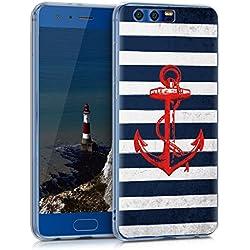 kwmobile Funda para Huawei Honor 9 - forro de TPU silicona cover protector para móvil - Case Diseño Ancla con rayas vintage rojo azul oscuro blanco